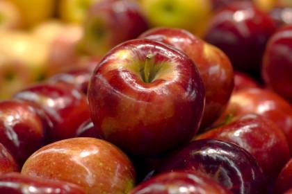 błyszczące czerwone jabłka